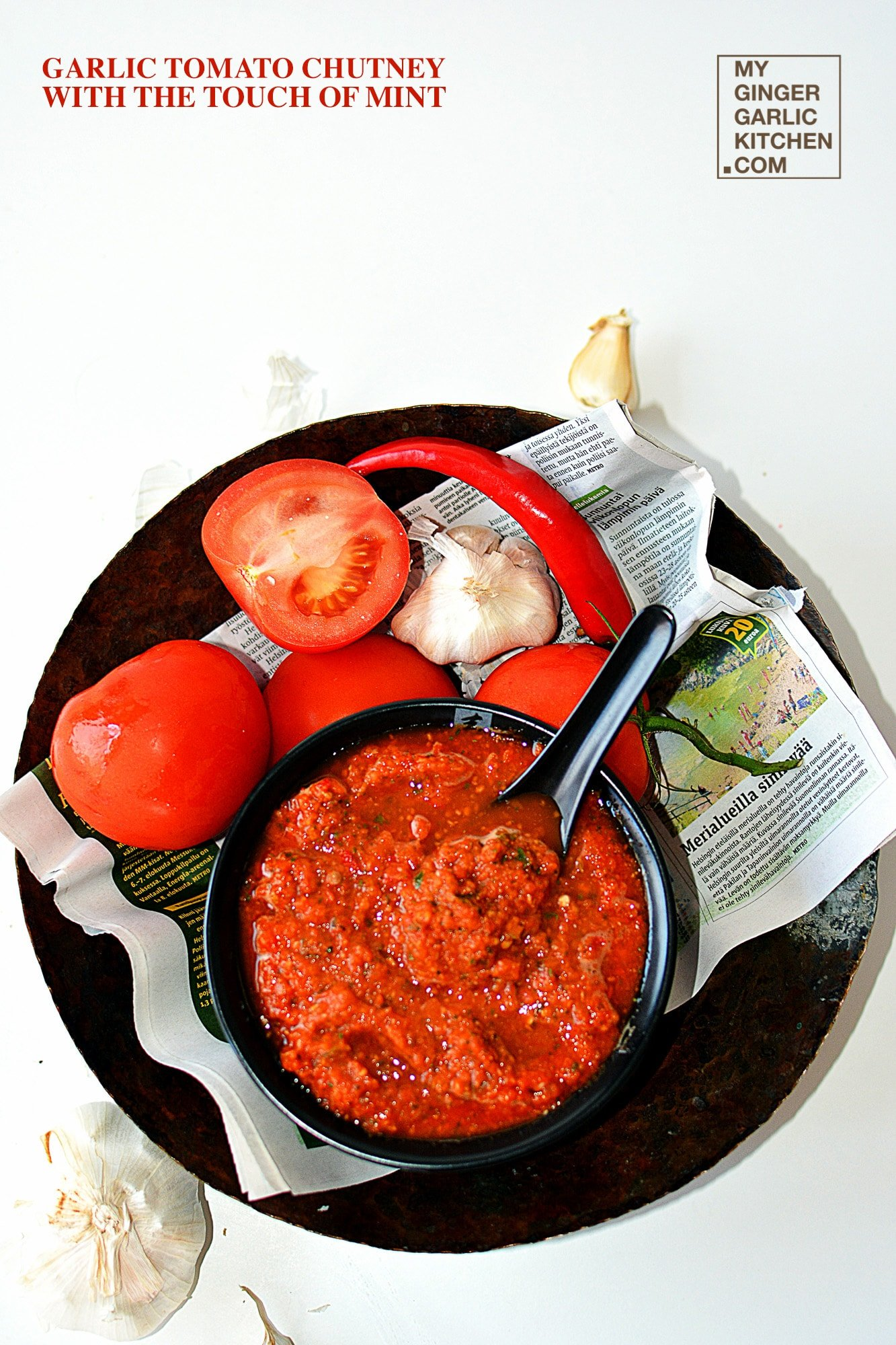 Image of Garlic Tomato Chutney With The Touch Of Mint