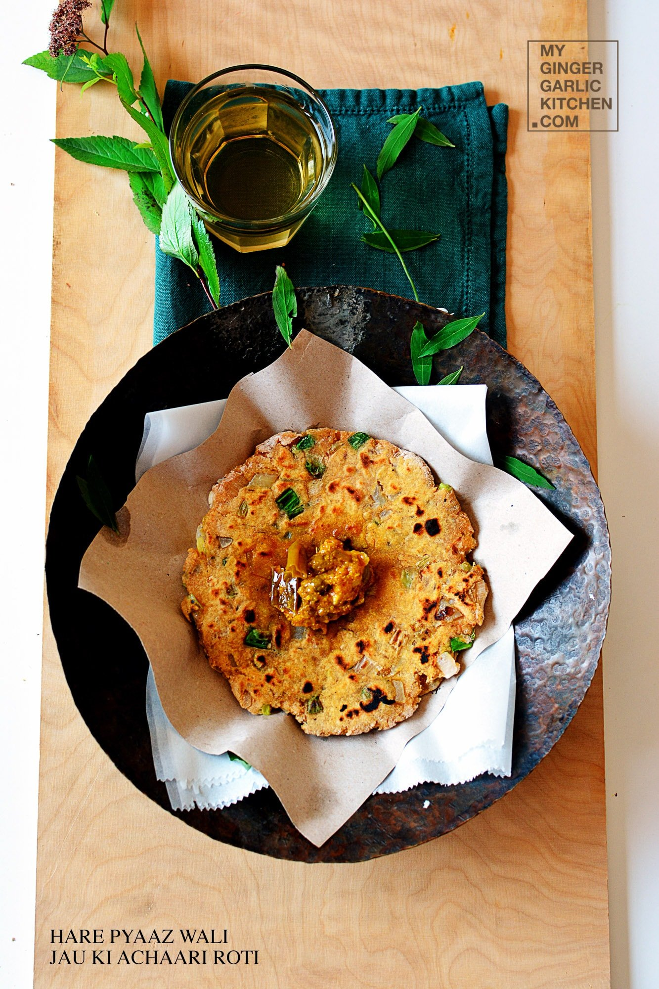 Image - recipe hare pyaz wali jau ki achari roti anupama paliwal my ginger garlic kitchen 7 copy