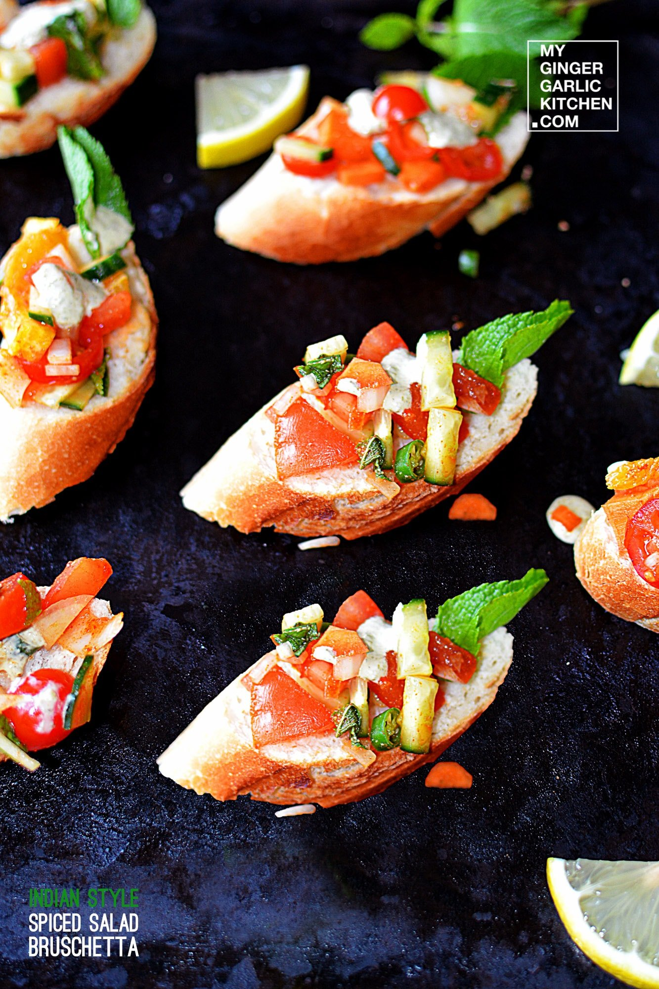 Image of Indian Style Spiced Salad Bruschetta