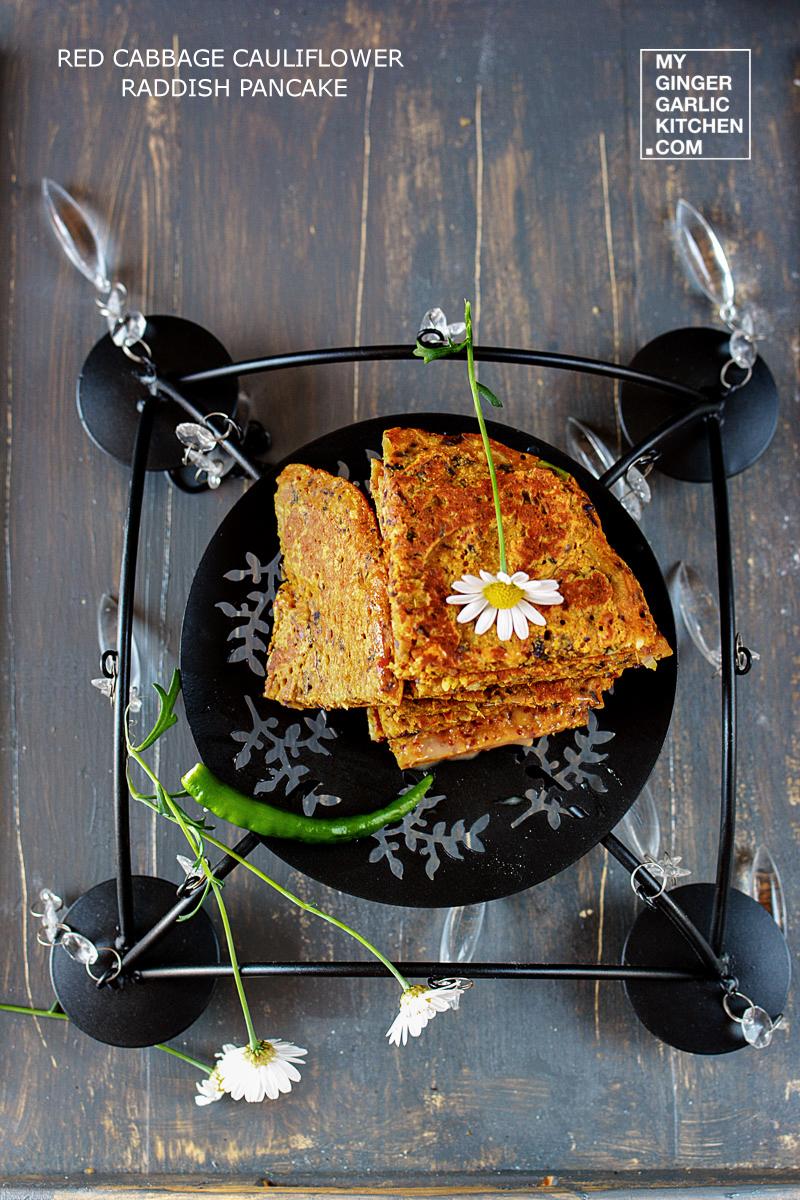 Image - recipe red cabbage cauliflower raddish pancake anupama paliwal my ginger garlic kitchen 4
