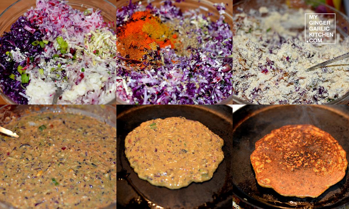 Image - recipe red cabbage cauliflower raddish pancake anupama paliwal my ginger garlic kitchen 7