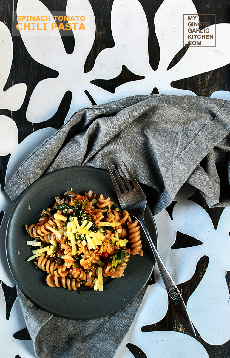 Image - recipe spinach tomato chili pasta anupama paliwal my ginger garlic kitchen 2