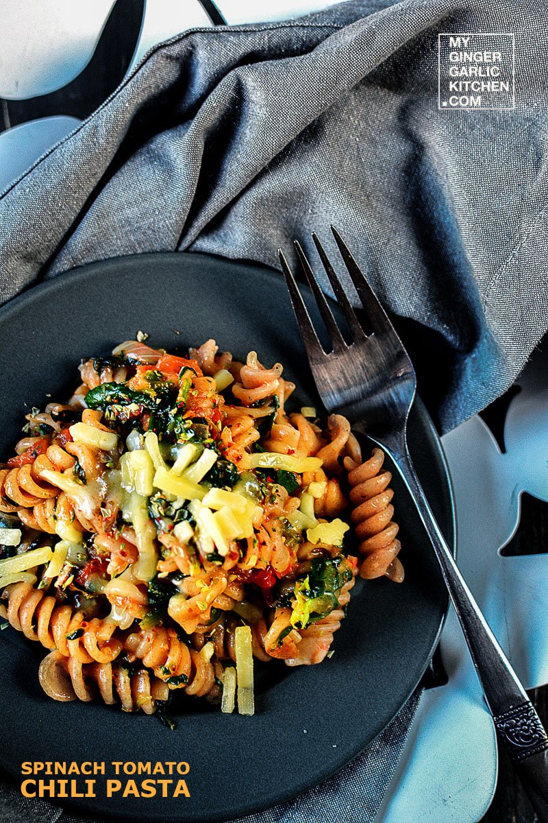 Image of Spinach Tomato Chili Whole Grain Pasta [Vegetarian-Recipe]