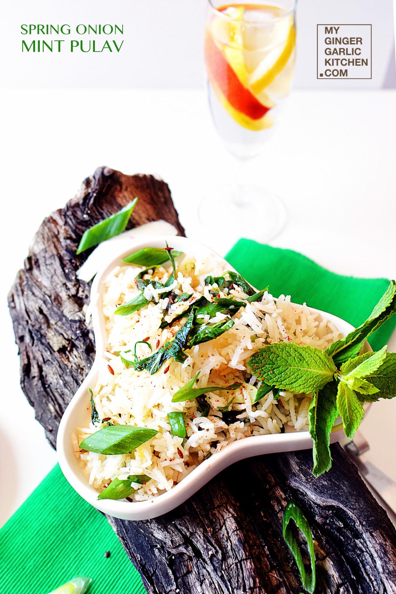 Image - recipe spring onion mint pulav anupama paliwal my ginger garlic kitchen 1