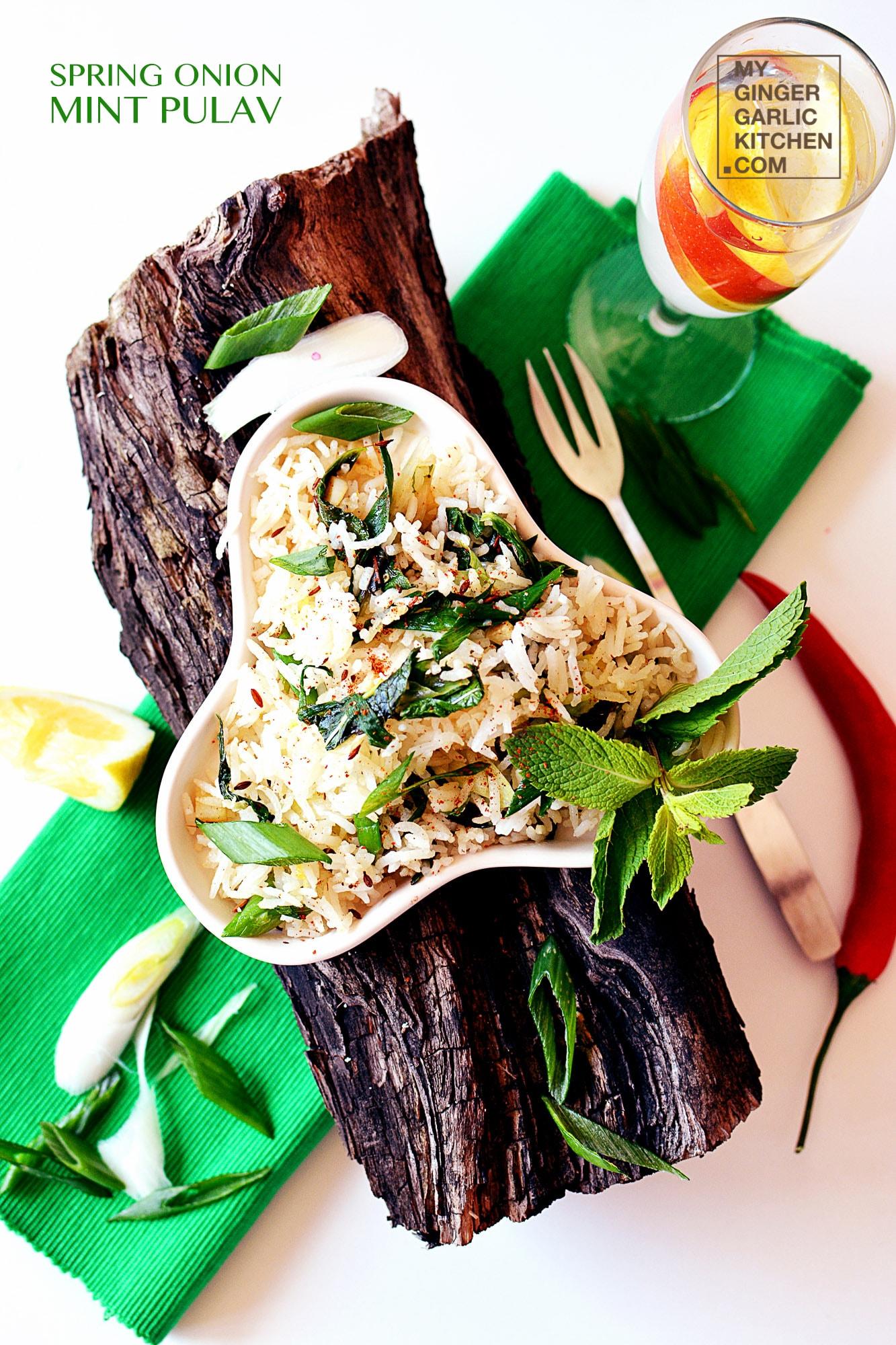 Image - recipe spring onion mint pulav anupama paliwal my ginger garlic kitchen 4