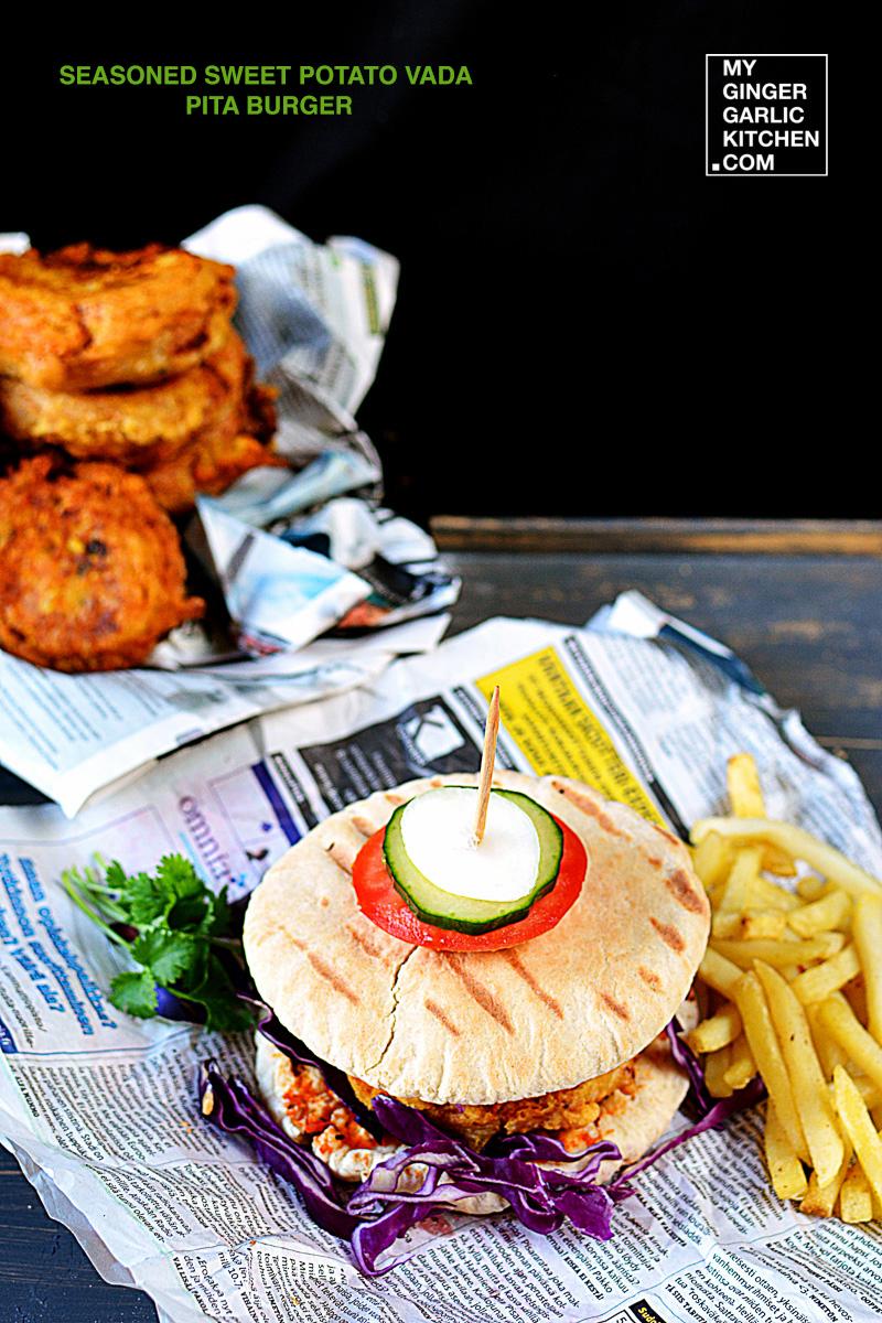 Image - recipe sweet potato vada pita burger anupama paliwal my ginger garlic kitchen 2