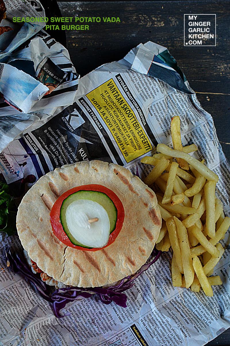 Image - recipe sweet potato vada pita burger anupama paliwal my ginger garlic kitchen 4