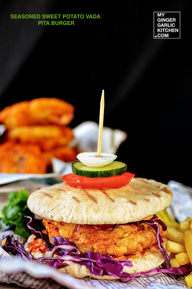 Image of Seasoned Sweet Potato Vada Grilled Pita Burger