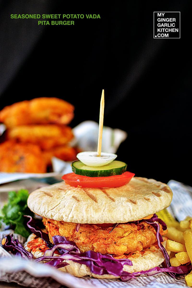 Image of Seasoned Sweet Potato Vada Grilled Pita Burger