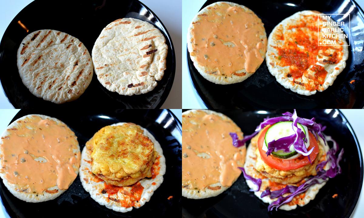Image - recipe sweet potato vada pita burger anupama paliwal my ginger garlic kitchen 9