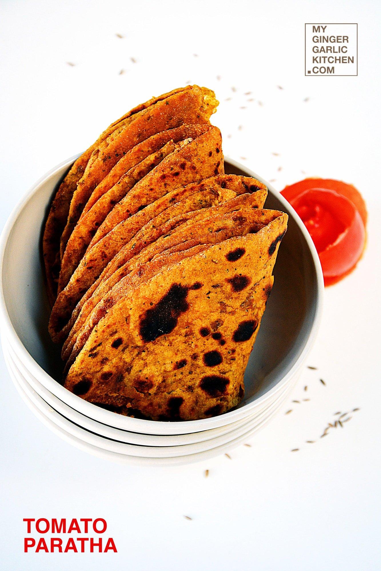 Image of Tangy Spicy Tomato Paratha – Tomato Flatbread Recipe | Tamatar Ka Paratha
