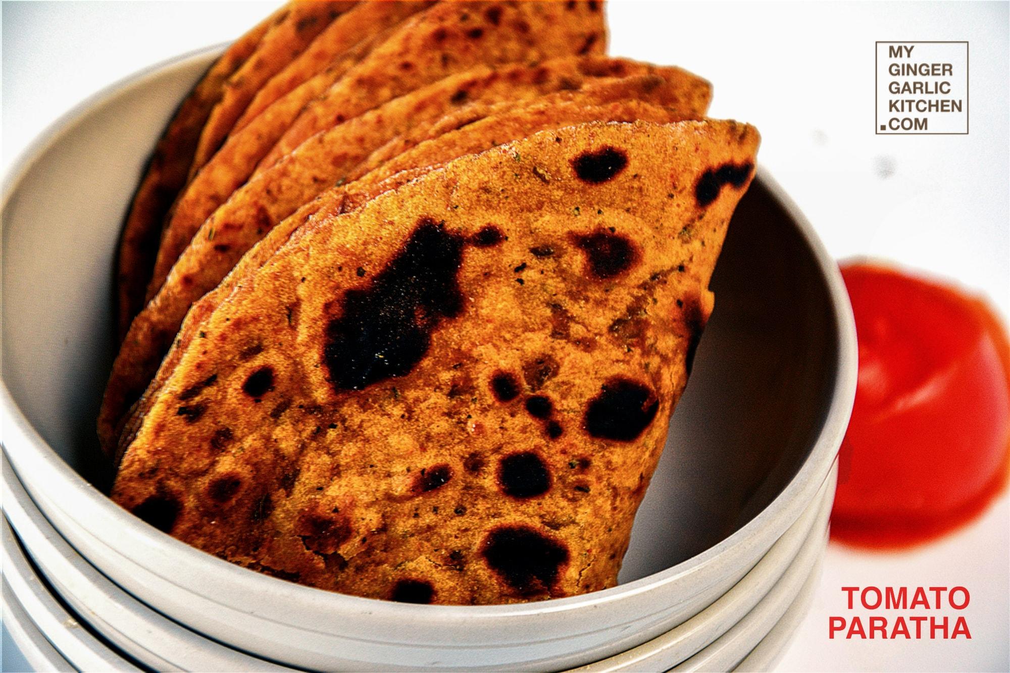 Tangy Spicy Tomato Paratha - Tomato Flatbread Recipe | Tamatar Ka Paratha | mygingergarlickitchen.com/ @anupama_dreams