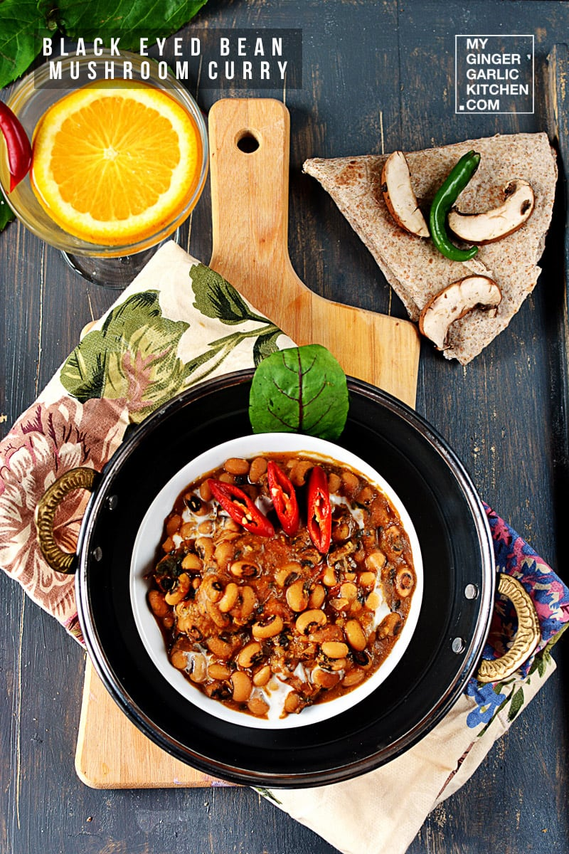 Image of Lobia Mushroom Curry - Black-eyed Bean Mushroom Curry