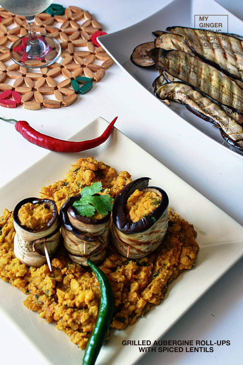 Image of Grilled Aubergine Roll-Ups with Spiced Lentils