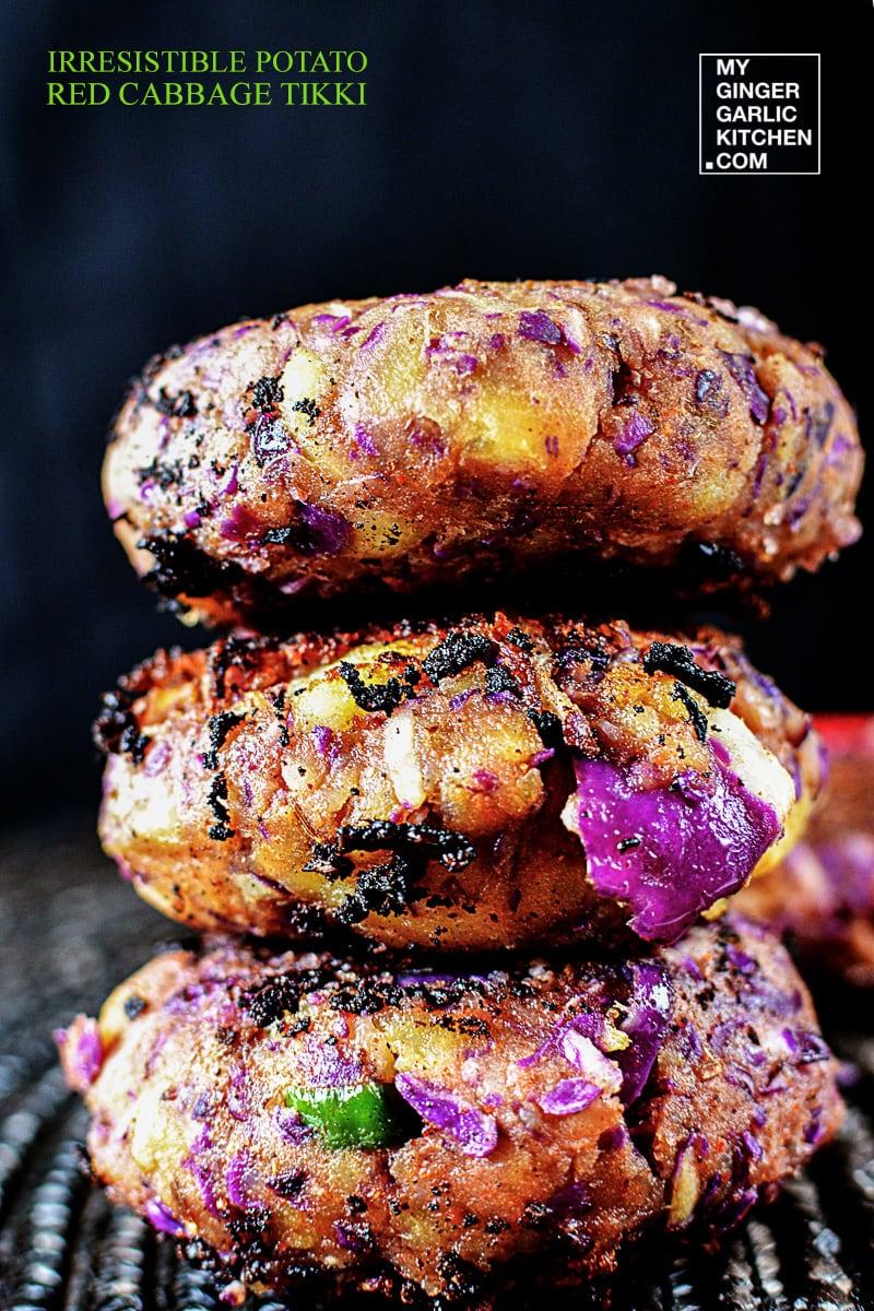 Image - recipe irresistible potato red cabbage tikki anupama paliwal my ginger garlic kitchen 1
