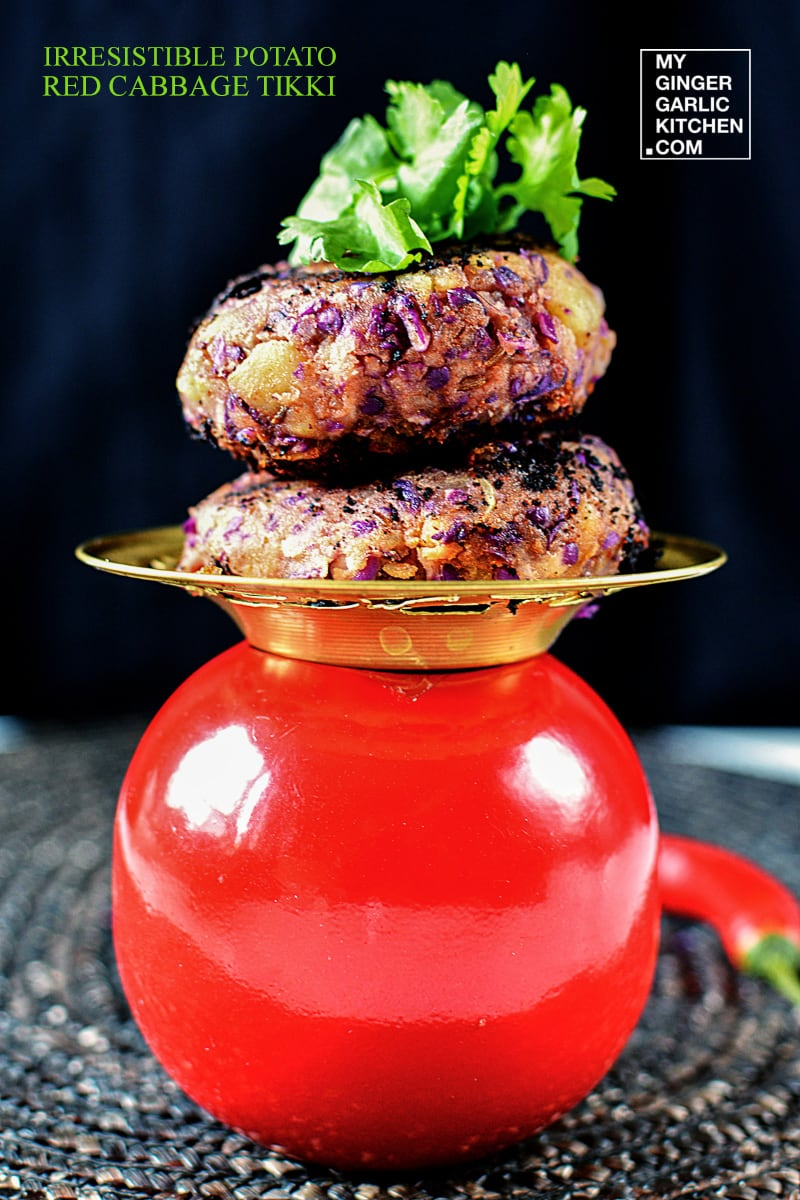 Irresistible Potato Red Cabbage Tikki Recipe | mygingergarlickitchen.com/ @anupama_dreams