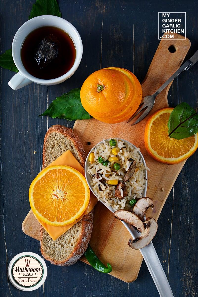 Image of Mushroom Peas Corn Pulav