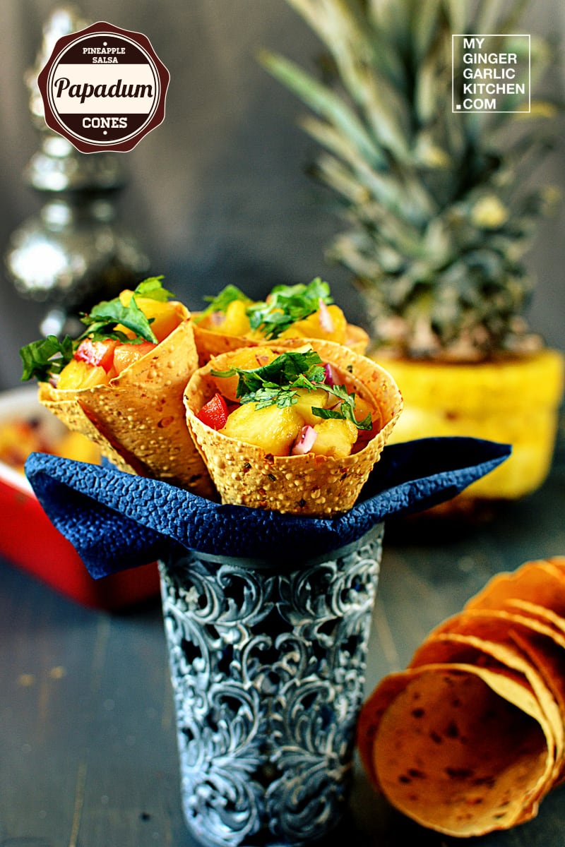 Image of Pineapple Salsa Papadum Cones