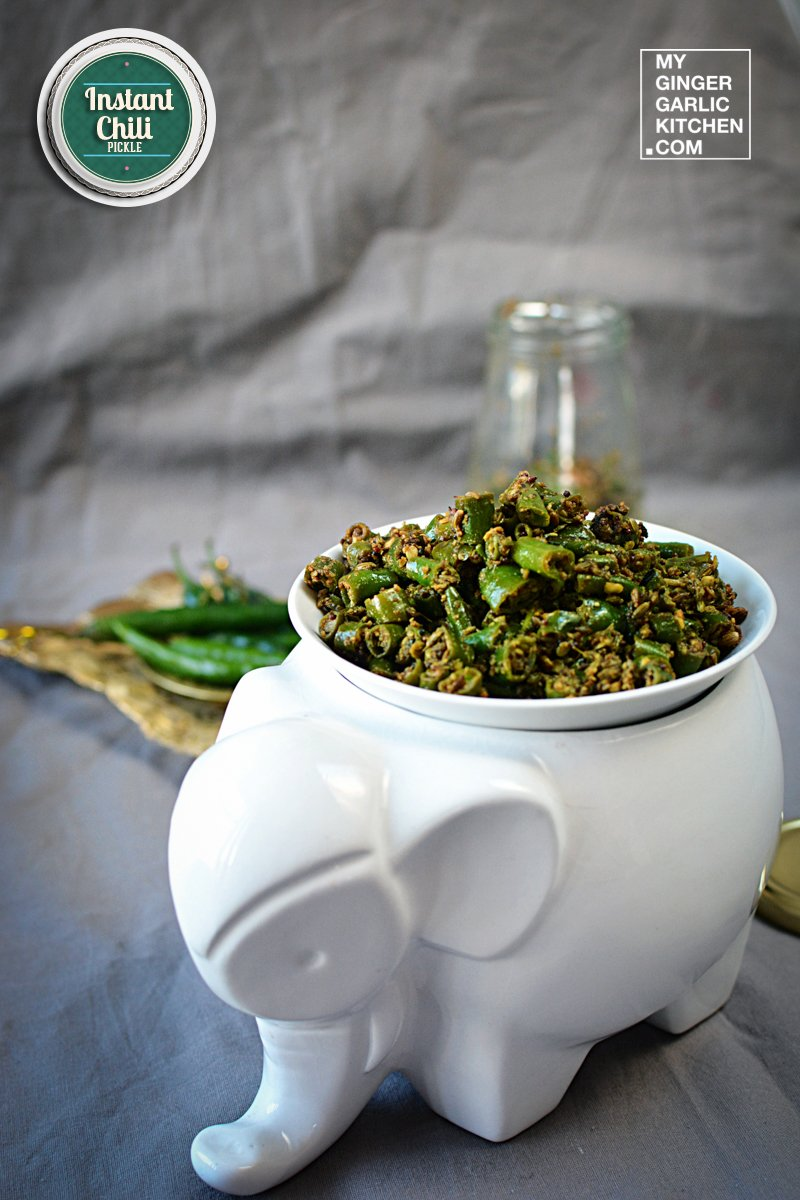 Image of Rajasthani Mirchi ke Tipore – Instant Green Chili Pickle Recipe Video