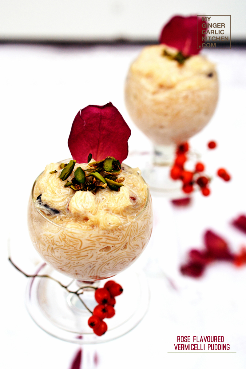 Rose Flavored Vermicelli Pudding | Seviyan Kheer| mygingergarlickitchen.com/ @anupama_dreams