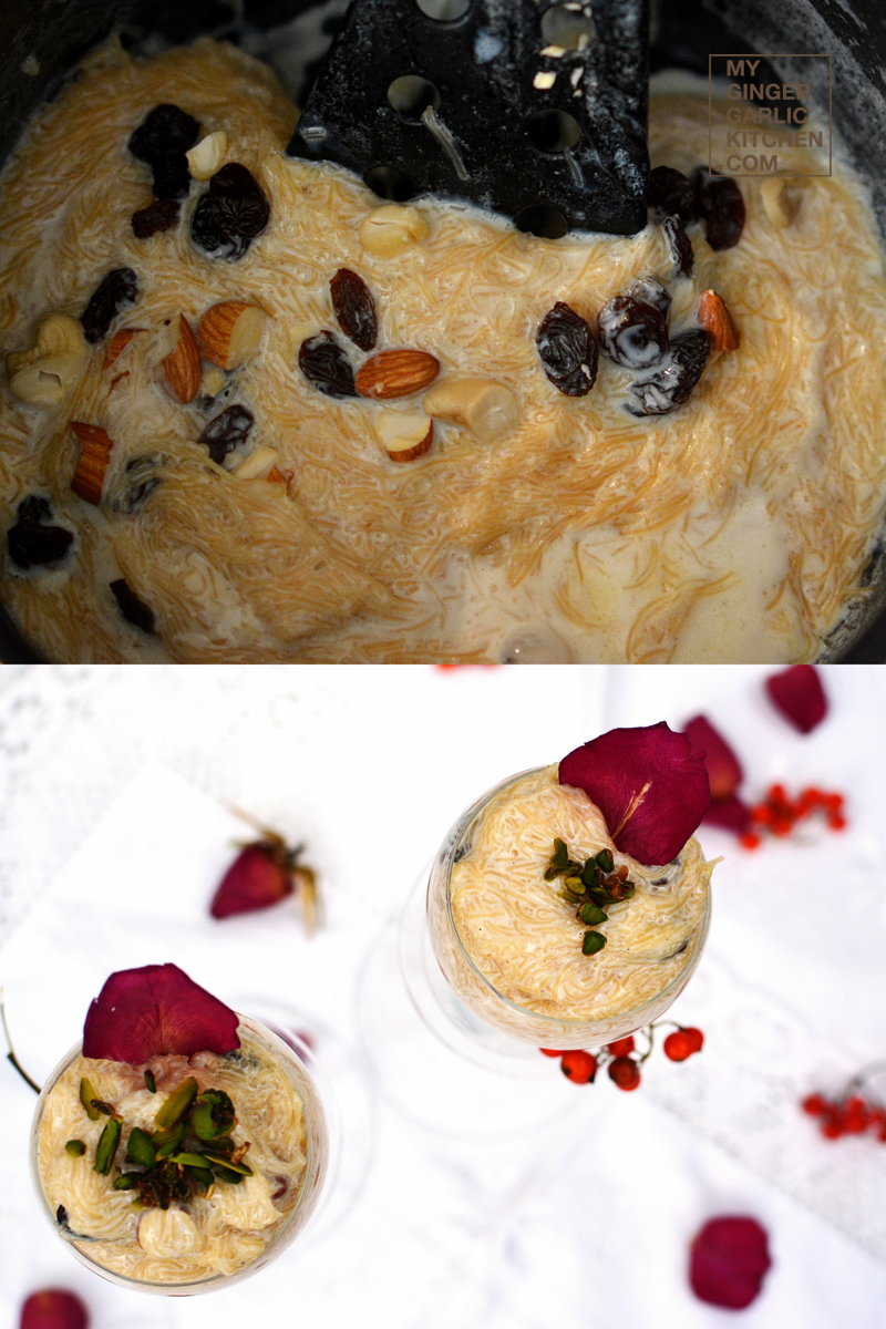 Rose Flavored Vermicelli Pudding   Seviyan Kheer  mygingergarlickitchen.com/ @anupama_dreams
