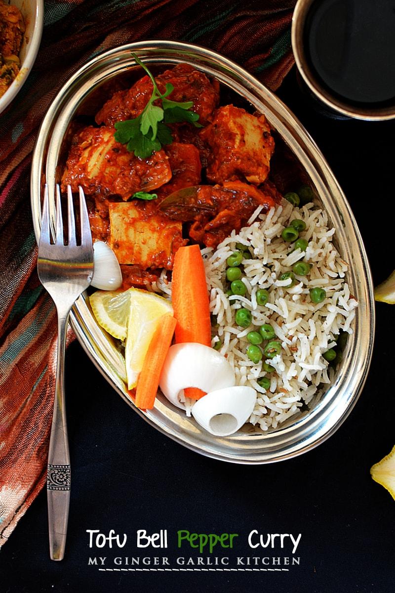 Image of Creamy Tofu Bell Pepper Curry Recipe - Kadai Tofu Masala