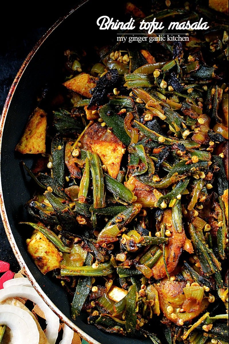 Image of Bhindi Aloo Tofu Masala Recipe - Okra Potato Tofu Stir Fry