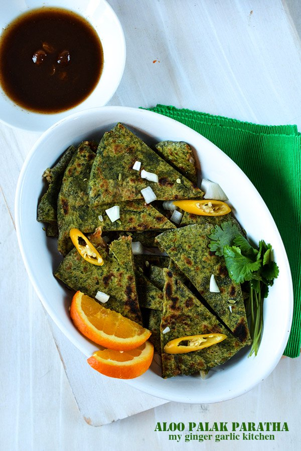 Image of Aloo Palak Paratha Recipe – Potato stuffed Spinach Flatbread