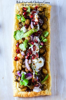 Image of Baked Tart with Chickpea Curry and Tamarind Chutney