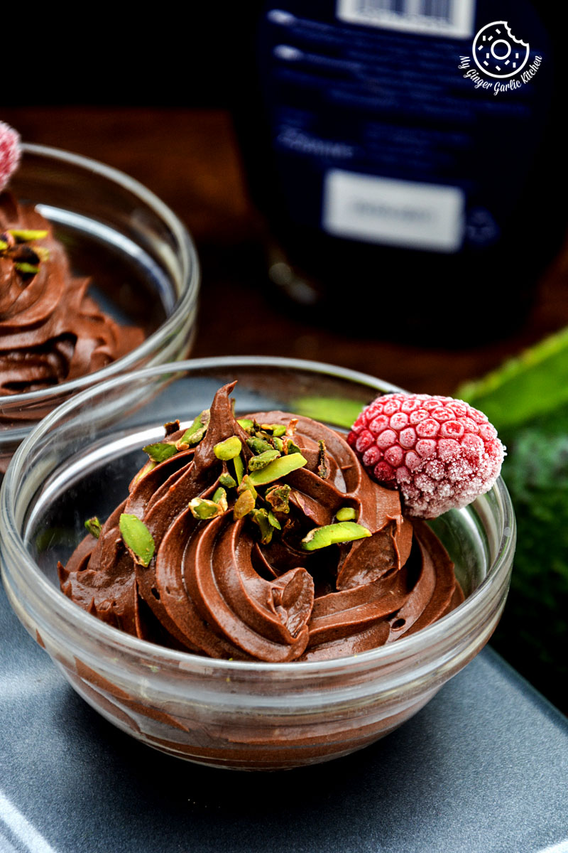 Dairy-free-avocado-chocolate-mousse-with-pistachio-and-raspberrychocolate-lassi-egg-cups|mygingergarlickitchen.com/ @anupama_dreams
