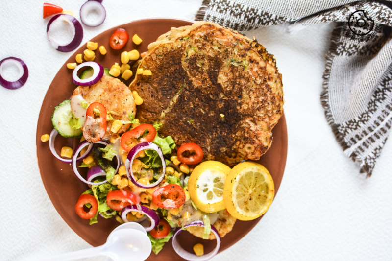 recipe-carrot-aucchini-semolina-pancake-with-potato-patties-and-fresh-salad|mygingergarlickitchen.com/ @anupama_dreams