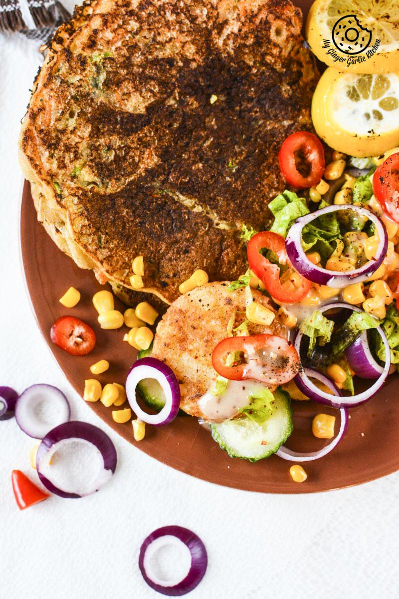 recipe-carrot-aucchini-semolina-pancake-with-potato-patties-and-fresh-salad mygingergarlickitchen.com/ @anupama_dreams