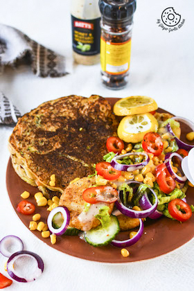 Image of Carrot Zucchini Semolina Pancake With Potato Patties and Fresh Salad [RECIPE+STORY]