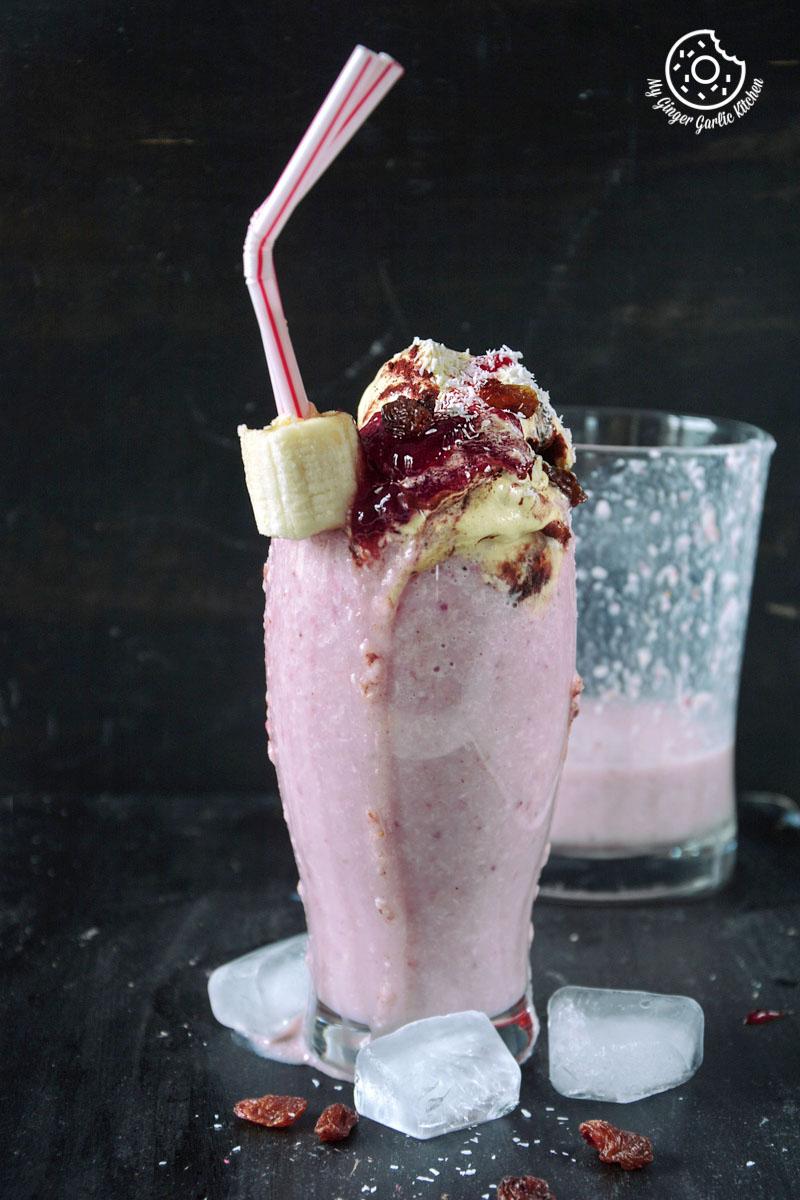 Image - recipe banana raspberry coconut smoothie with tiramisu chocolate anupama paliwal my ginger garlic kitchen 21 683x1024