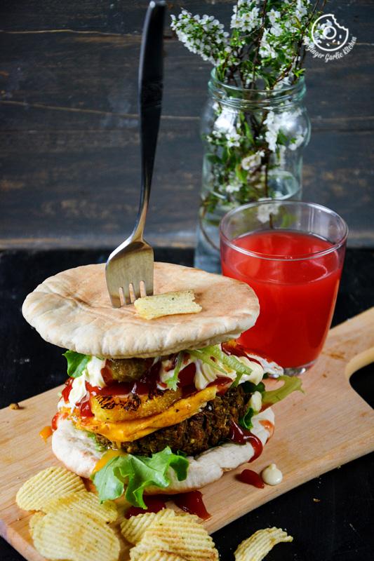 recipe-mung-bean-pita-burger-with-caramelized-oranges-and-mango-chutney|mygingergarlickitchen.com/ @anupama_dreams