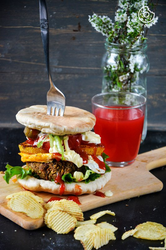 recipe-mung-bean-pita-burger-with-caramelized-oranges-and-mango-chutney|mygingergarlickitchen.com/ @anupama_dreams