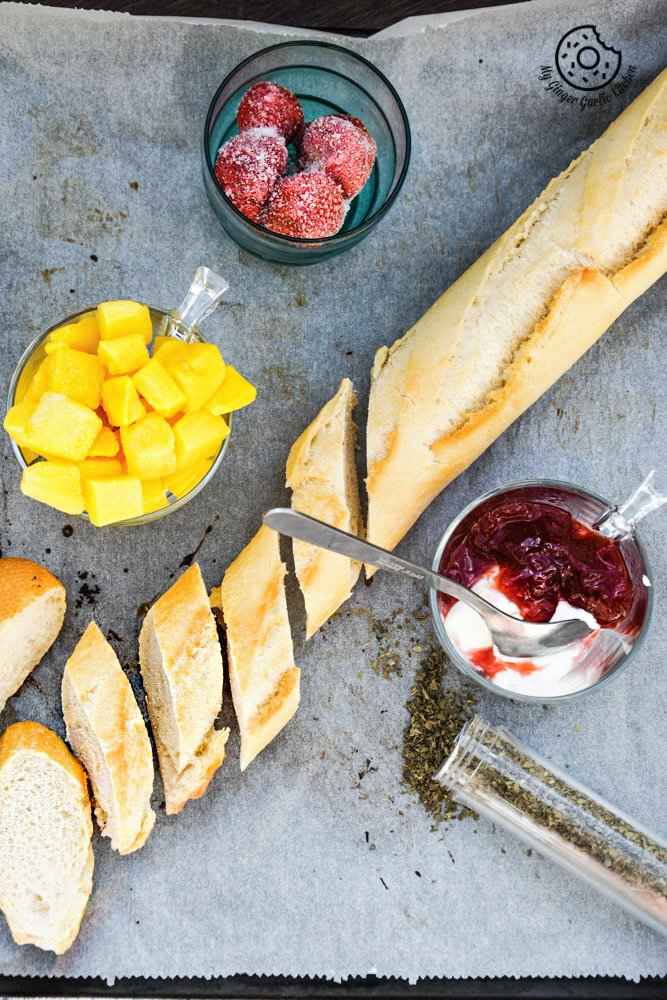 tropical-brushetta-with-berry-yogurt-cheese|mygingergarlickitchen.com/ @anupama_dreams