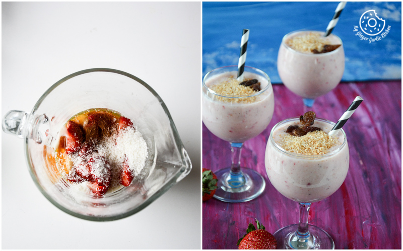 recipe-banana-strawberry-coconut-smoothie|mygingergarlickitchen.com/ @anupama_dreams
