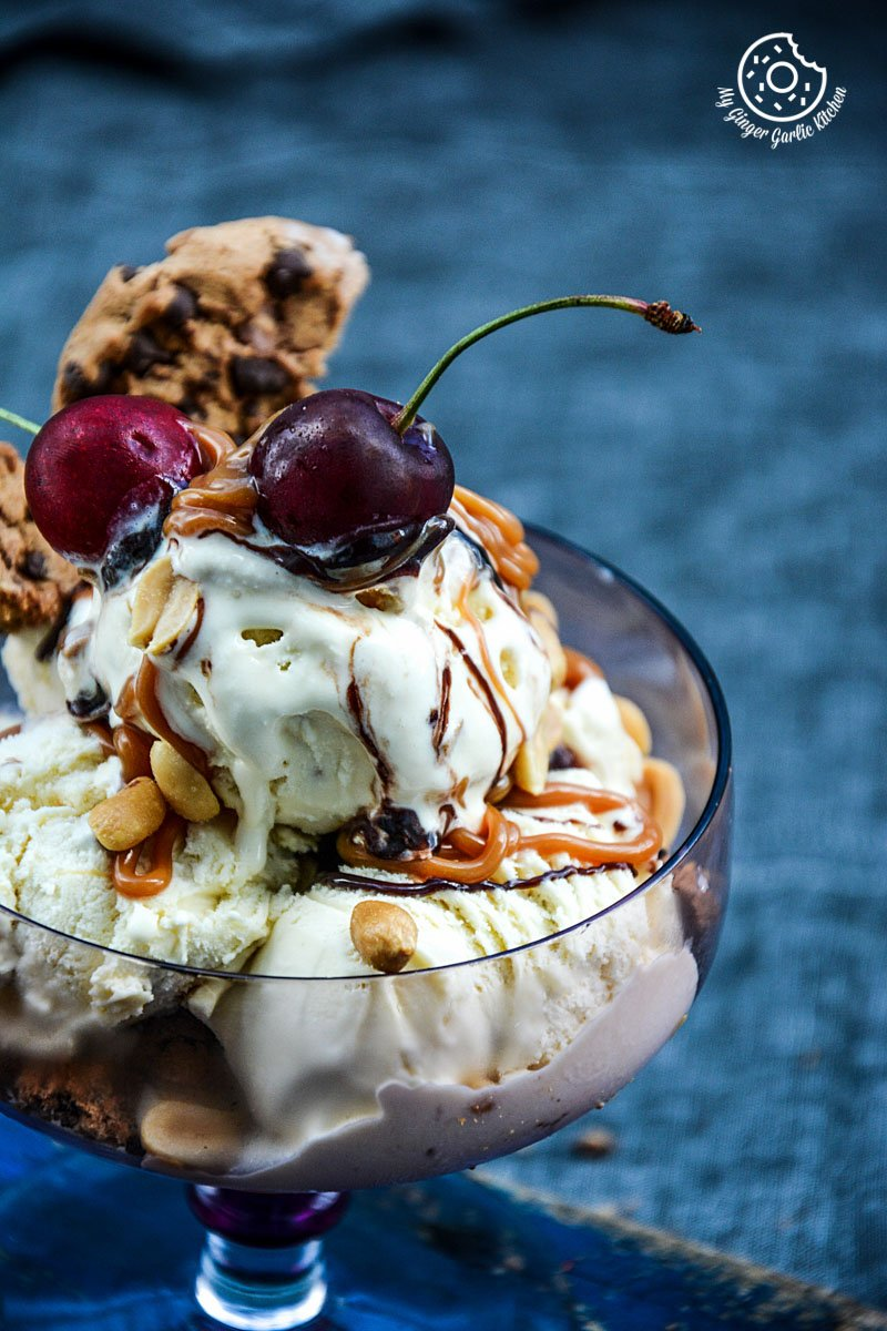 caramel-chocolate-chip-cookies-salted-peanuts-ice-cream-sundae recipe-caramel-chocolate-chip-cookies-salted-peanuts-ice-cream-sundae|mygingergarlickitchen.com/ @anupama_dreams