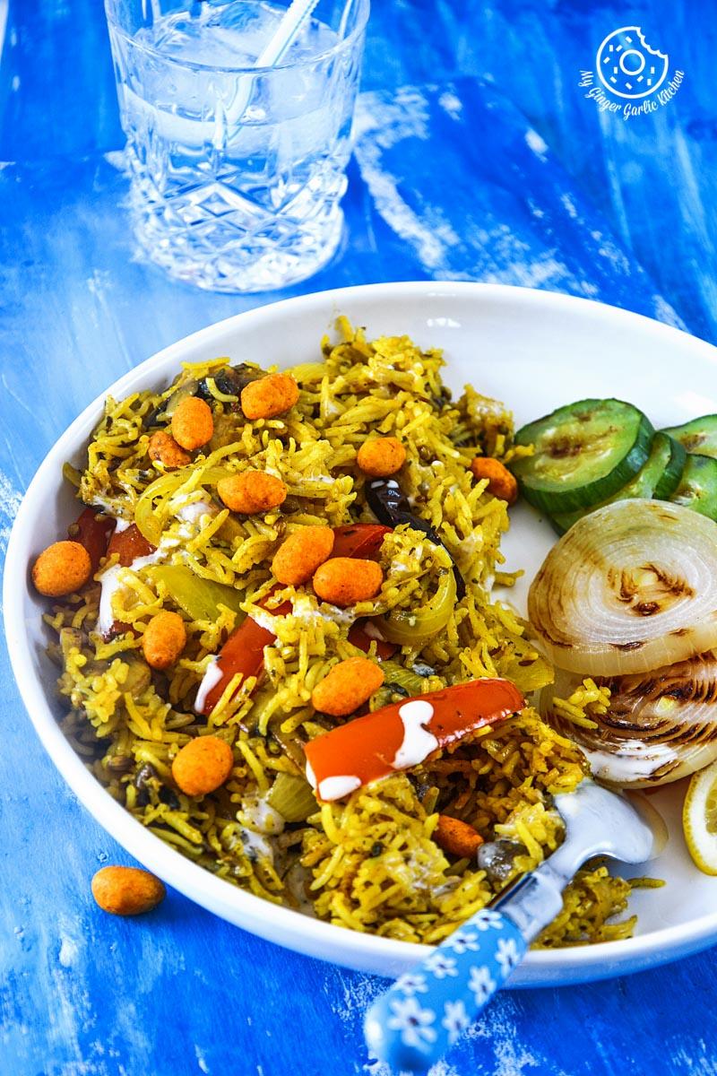 recipe-mushroom-pepper-pilaf-with-grilled-veggies-and-honey-mustard-yogurt-and-chili-panuts|mygingergarlickitchen.com/ @anupama_dreams