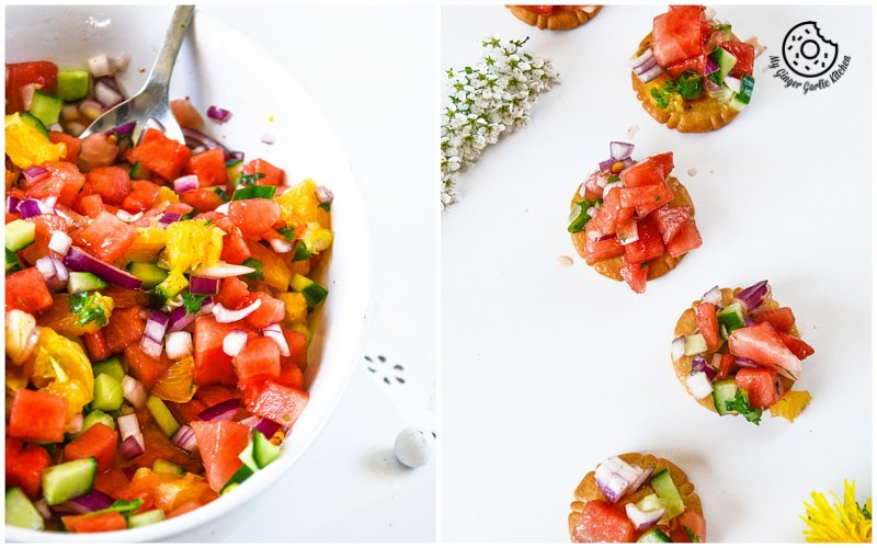 recipe-watermelon-orange-salsa-summer-bites|mygingergarlickitchen.com/ @anupama_dreams