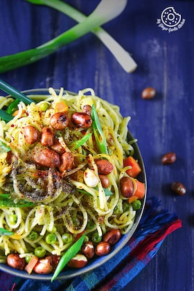 Image of 15 minutes No Oil Green Thai Curry Chow-Mein Noodles