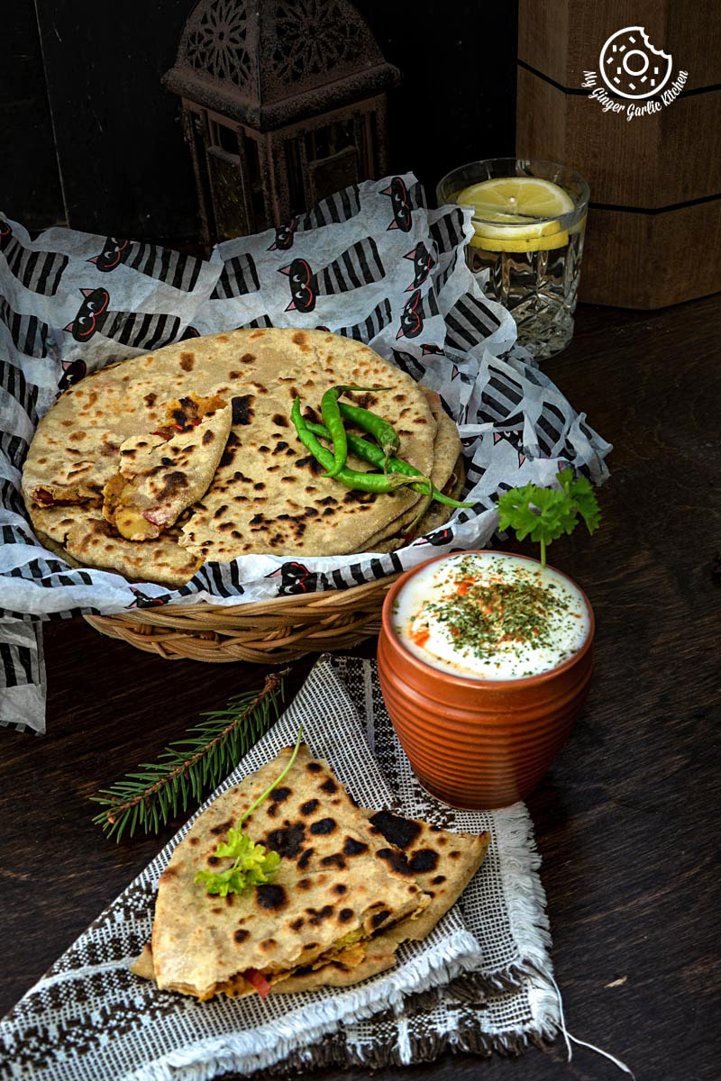 recipe-pepper-onion-potato-paratha|mygingergarlickitchen.com/ @anupama_dreams