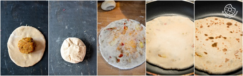 recipe-pepper-onion-potato-paratha|mygingergarlickitchen.com/ @anupama_dreams