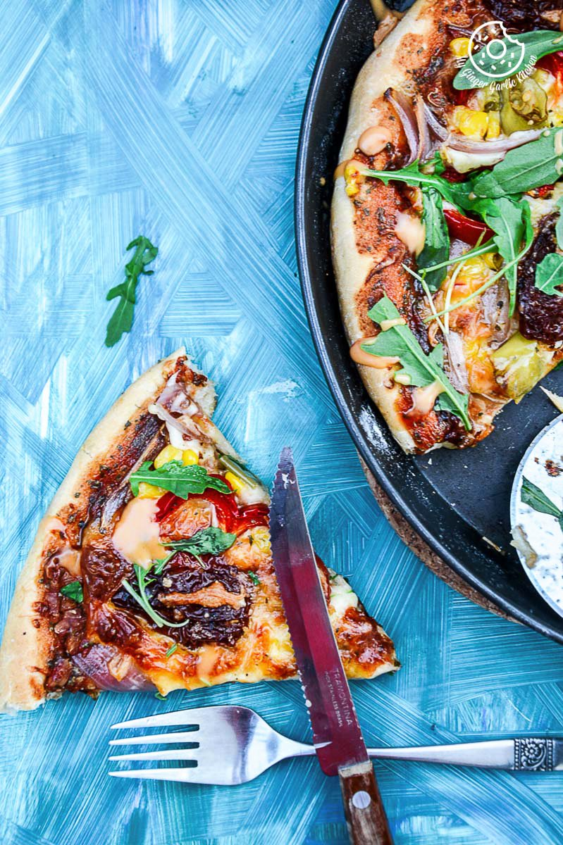 recipe-Pepper-Corn-Arugula-Pizza-with-Sun-Dried-Tomatoes-and-Mayonnasie-Pepper|mygingergarlickitchen.com/ @anupama_dreams