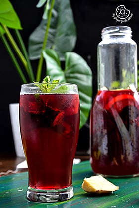 Image of Cherry-Berry Iced Tea With Lemon Mint Ginger And Honey