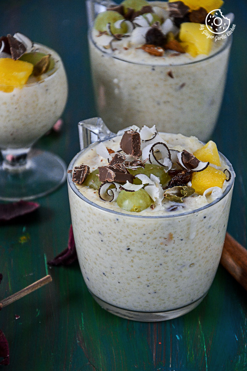 recipe-creamy-fruit And-nut-couscous-paneer-pudding -with-chocolate|mygingergarlickitchen.com/ @anupama_dreams