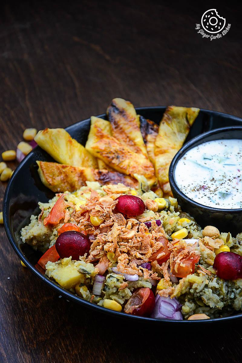 recipe-spiced-rice-lentils-with-grilled-pineapple-and-cucumber-honey-lemon-yogurt  mygingergarlickitchen.com/ @anupama_dreams