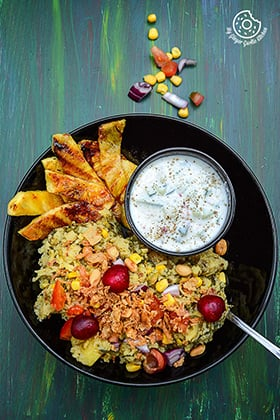 Image of Spiced Rice Lentils with Grilled Pineapple And Cucumber Honey Lemon Yogurt