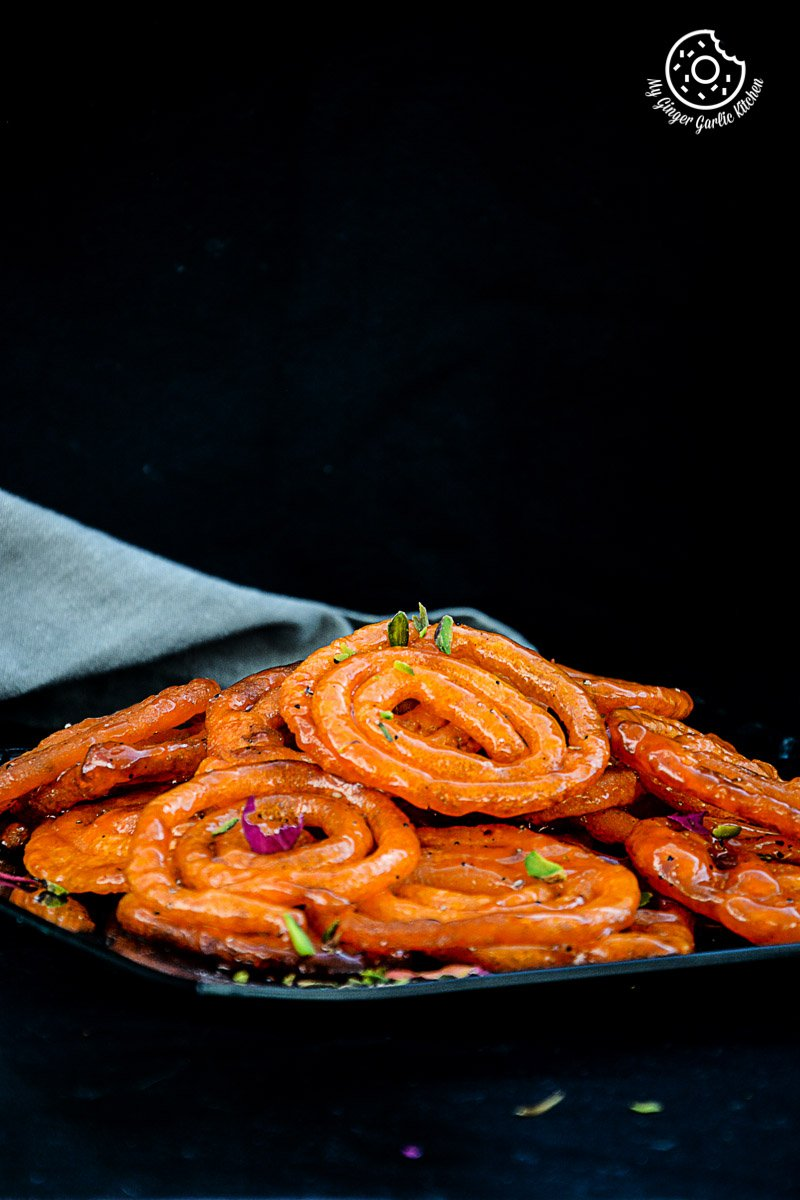 recipe-Instant-Peach-Jalebi-Topped-with-Whipped-Cream-and-Peaches|mygingergarlickitchen.com/ @anupama_dreams